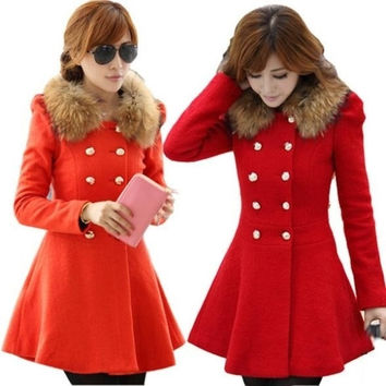Fashion Ladies Casacos Femininos 2014 Elegant Long Sleeve Slim Woollen Coat Double Breasted Winter Women Coats 8877 = 1956197764