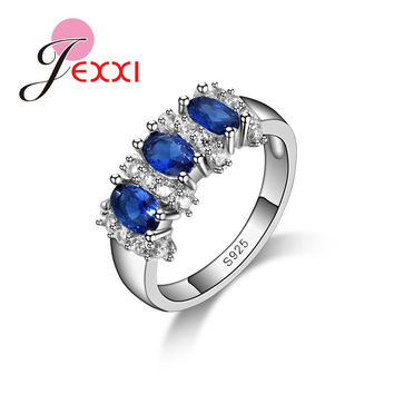 JEXXI New European Oval Cubic Zirconia Wedding Engagement Finger Rings Fashion Band Jewelry Accessory 925 Sterling Silver Rings