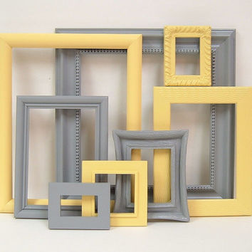 Picture Frame Set Yellow And Gray Modern From Mountaincoveantique