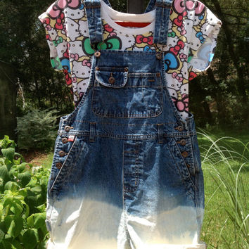 Grunge Short Overalls Shortalls Dip dyed Dungarees Size Small Festival Hipster Farmers Bib Jeans