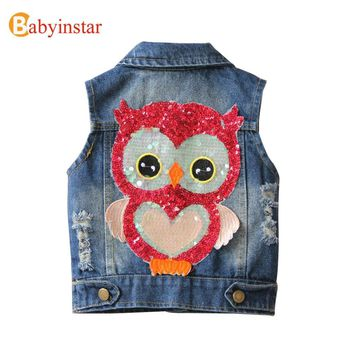 Trendy Babyinstar 2018 Baby Girls Vest with Fashion Sequins Owl Pattern Children's Coat Outerwear Boys Denim Jacket Kids Waistcoat Tops AT_94_13
