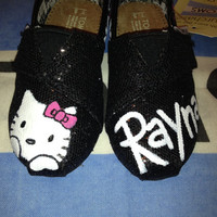Hello Kitty Tiny Custom TOMS on Black Glitter