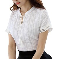 Foxmertor 100% Cotton Shirt Short Sleeve Summer  Blouses Tops Solid Casual Lace Hollow Out White Shirts OL Blusas E225