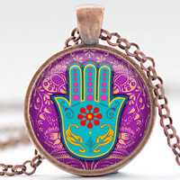 CIJ SALE Hamsa Hand Necklace, Hamsa Jewelry, Good Luck Charm Charm, Protection Pendant (1163)