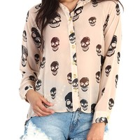 Skull Print Sheer Button Down Shirt - Camel
