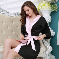 Sexy Large Size Sexy Satin Night Robe Lace Bathrobe Perfect Wedding Bride Bridesmaid Robes Dressing Gown For Women