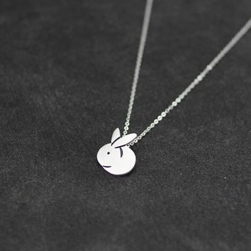 925 Sterling Silver lovely small rabbit necklace ,a perfect gift !
