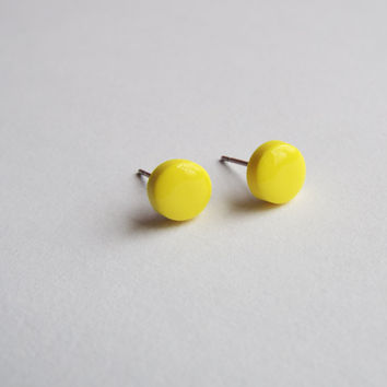 Tiny Round Yellow Clay Studs Earring Posts