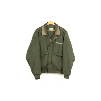 cabala's army green jacket / bomber / work wear / barn coat / military / leather trim / grunge / basic / mens L - XL