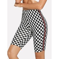 Letter Side Plaid Short Leggings