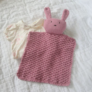 Pink Bunny Lovie, Hand Knit, Bunny Security Blanket, Baby Girl & Toddler