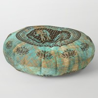 Elephants Lotus Flower Distressed Mandala Design Floor Pillow by inspiredimages