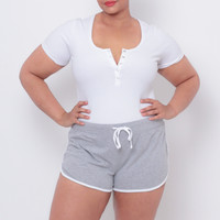 Plus Size Dolphin Drawstring Sport Shorts - Grey