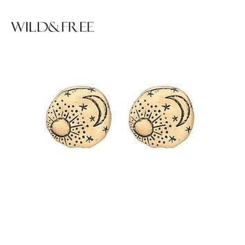 Wild&Free Zinc Alloy Round Stud Earrings For Women Vintage Texture Sun Moon Star Minimalist Studs Earring Jewelry Brincos Gift