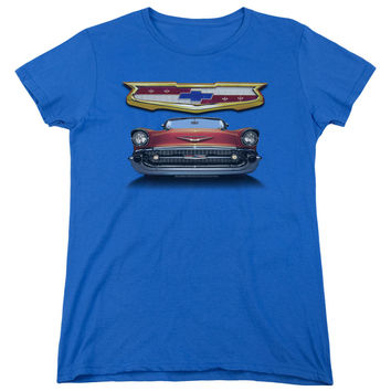 Chevy 1957 Bel Air Grille Royal Blue Womens T-Shirt