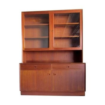 Pre-owned Teak China Cabinet Hutch Bookshelf Credenza