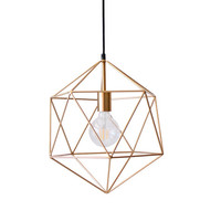 Gold Geometric Pendant Light Chandelier Handmade Hanging Light Polyhedron Industrial Lighting Modern Metal Cage Ceiling Lamp Globe
