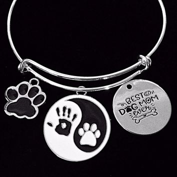 Best Dog Mom Ever Expandable Charm Bracelet Adjustable Silver Bangle One Size Fits All Gift Paw Print Yin Yang Symbol