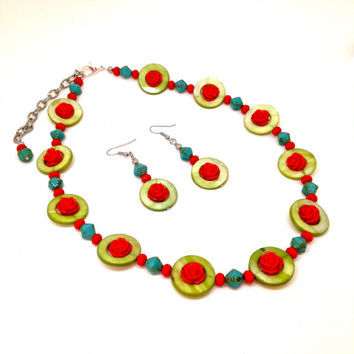 Red rose necklace with lime green mother of pearl shell beads and blue Czechoslovakian glass beads, summer jewelry