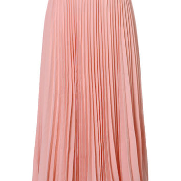 Peach Pink Pleated Maxi Skirt - New Arrivals - Retro, Indie and Unique Fashion