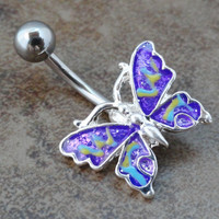 Purple Butterfly Belly Button Jewelry Ring