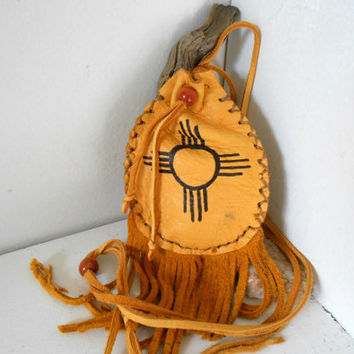 Medicine Pouch, Medine Bag With Fringe, Sun Symbol, Handmade by Lakota Artist, Native American, Hippie, Boho, Tribal, Mountain Man, Powwow