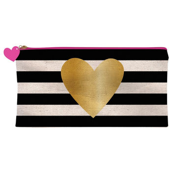 Pink Zipper Pencil Case Gold Heart on Black Stripes