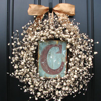 Wedding Wreaths - Champagne - Berry Wreath - Vintage Inspired Decor - Front Door - Sugar Cream Pie - Personalized Decor - Initial Plates