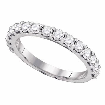 14kt White Gold Womens Round Pave-set Diamond Single Row Wedding Band 1.00 Cttw