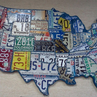 USA Recycled License Plate Map by LicensesPlateHeaven on Etsy