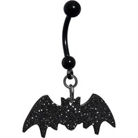 Glittery Black Bat Belly Ring
