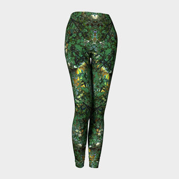 In The Garden, Compression fit performance Leggings, XS,S,M,L,XL, Hot Yoga Pants, Activewear, Yoga Leggins Made in Canada