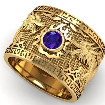 Sapphire Dragon Yellow Gold Wide Band Mens Ring Blue Ring Gift for Man Large Engraved Heavy Ring Unique Ring Engagement Ring Wedding Ring
