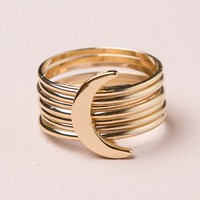 LAYERED CRESCENT MOON RING