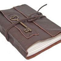 Dark Brown Leather Journal with Heart Key Charm Bookmark