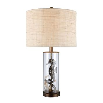 Largo Table Lamp In Bronze And Clear Glass With Natural Linen Shade Bronze,Clear