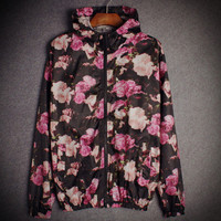 Fashion Unisex Lover's Vans Sports Coat Windbreaker Cartoon print Flower