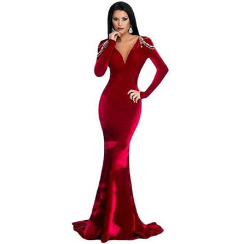 2016 Autumn New Women Red Velvet Long Sleeved Elegant Maxi Dress Vestidos Plunge V Neck Sexy Winter Party Evening Gown 61271