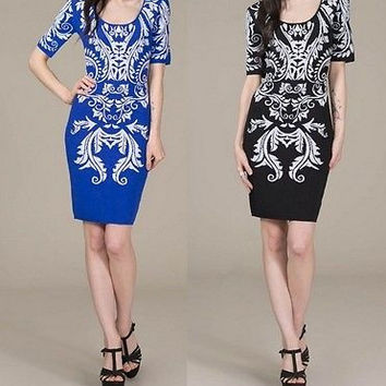 Eliza Bella for Flying Tomato Baroque Patterned Sweater Dress SML