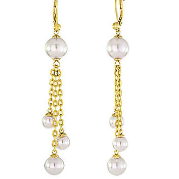 Majorica Gold Tone and Cluster Pearl Drop Earrings