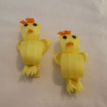 RIBBON SCULPTURES - EASTER  - YELLOW CHICKS