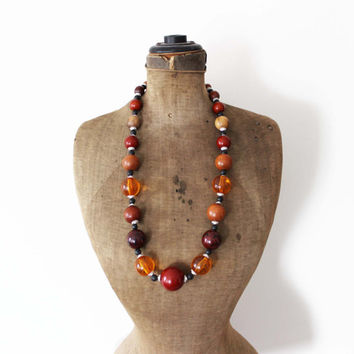 Long Chunky Wood Bead Necklace - Chunky Amber Bead Necklace - Chunky Orange Bead Necklace - Long Bead Necklace