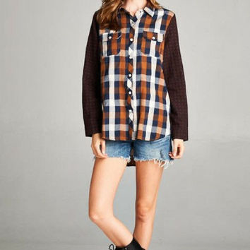 On The Trail Brown and White Plaid Long Sleeve Shirt