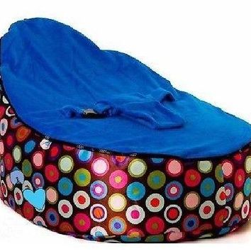 Babybooper Beanbag Soft Baby Cozy Baby Sitting Chair Nursery Pillow Safe (Blue Top Multi Bubble Drop)