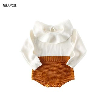 New Color! Baby Girl Bodysuit Ruffle Collar Knitted Baby Girl Clothes Long Sleeve Spring Baby Boy Jumpsuit Kids Christmas Gift