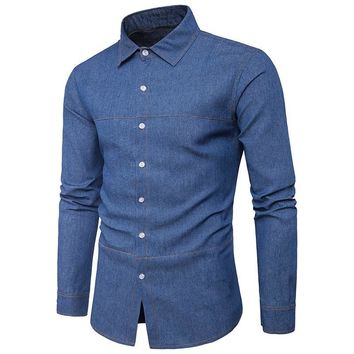 PODOM Men's Casual Denim Button Down Long-Sleeve Slim Fit Shirt
