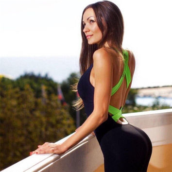 2016 Trending Fashion Women Backless Sleeveless Sport Suit Strappy Fitness Sportswear Stretch Exercise Yoga Set _ 1891