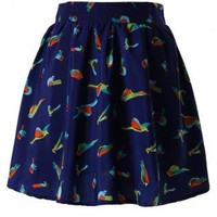 Navy Bird Print Chiffon Skirt with Stretch Waistband