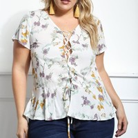 Devoted To Me Plus Size Lace-Up Top Tops+ GS-LOVE