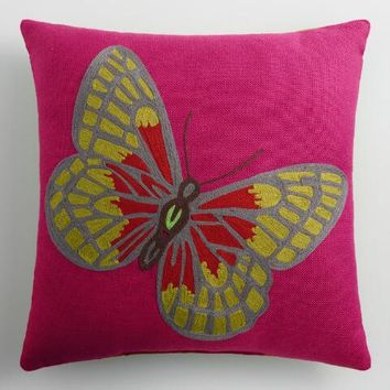Butterfly Embroidered Indoor Outdoor Throw Pillow